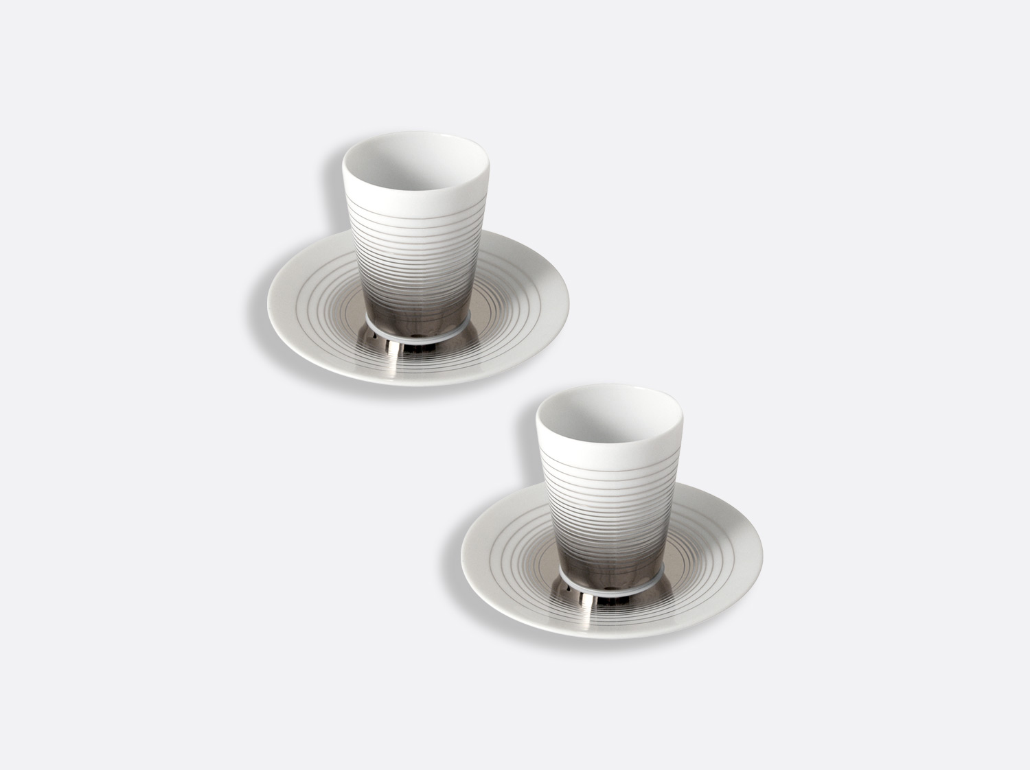 China Set of 2 handle-less coffee cups and saucers 7-cl of the collection Loop | Bernardaud