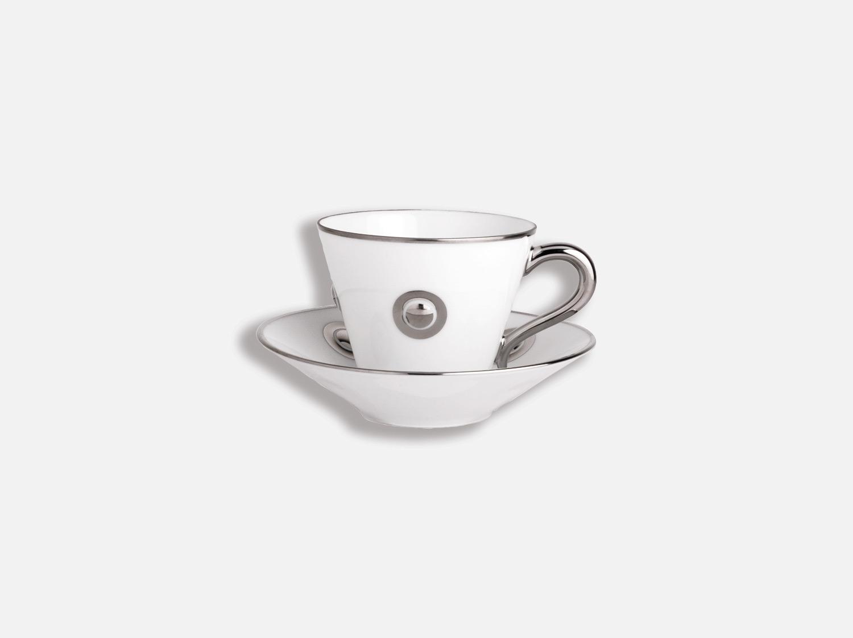 Tasse et soucoupe café 13 cl en porcelaine de la collection Ithaque platine Bernardaud