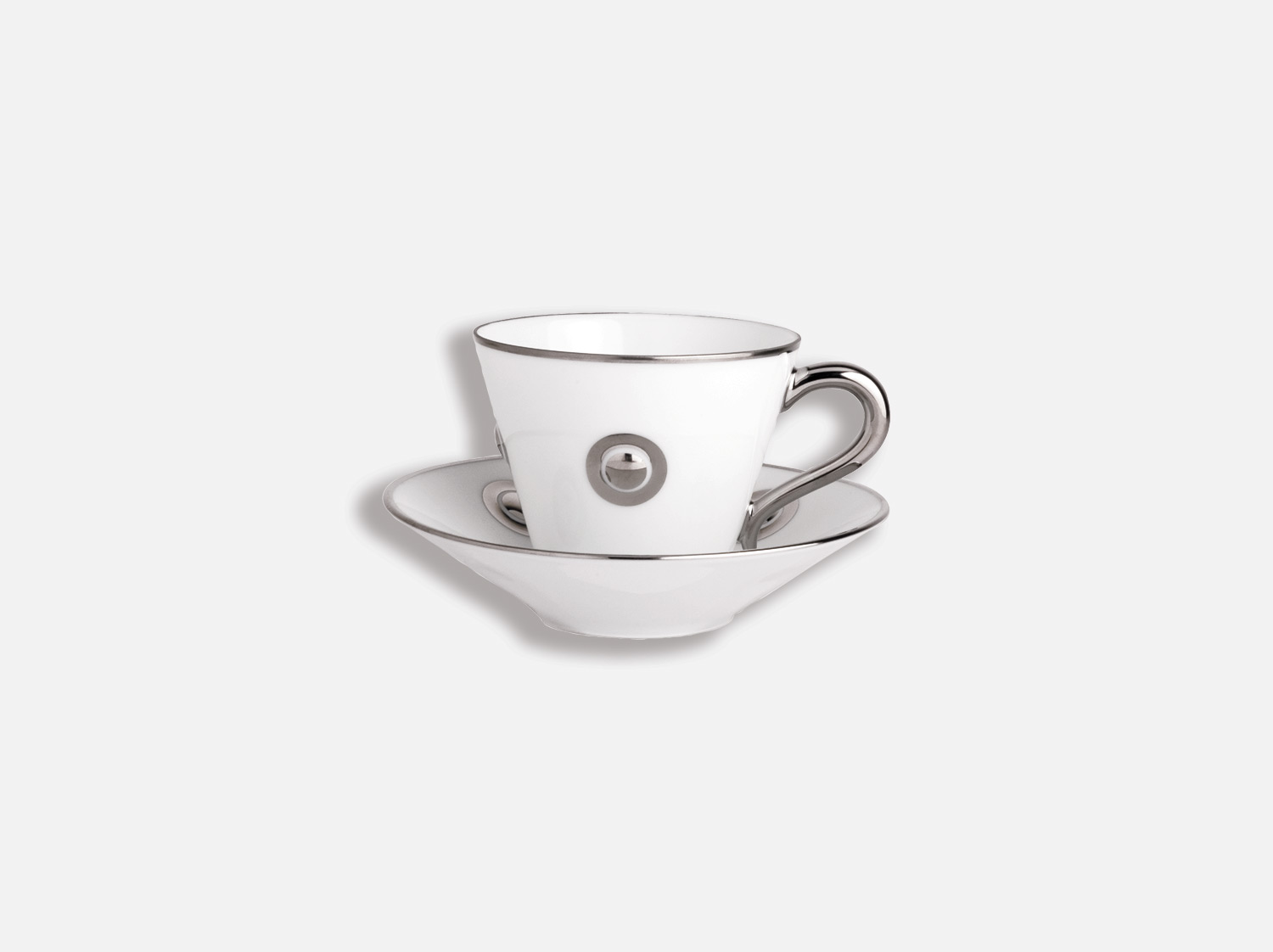 Tasse et soucoupe café 13 cl en porcelaine de la collection Ithaque platine Bernardaud