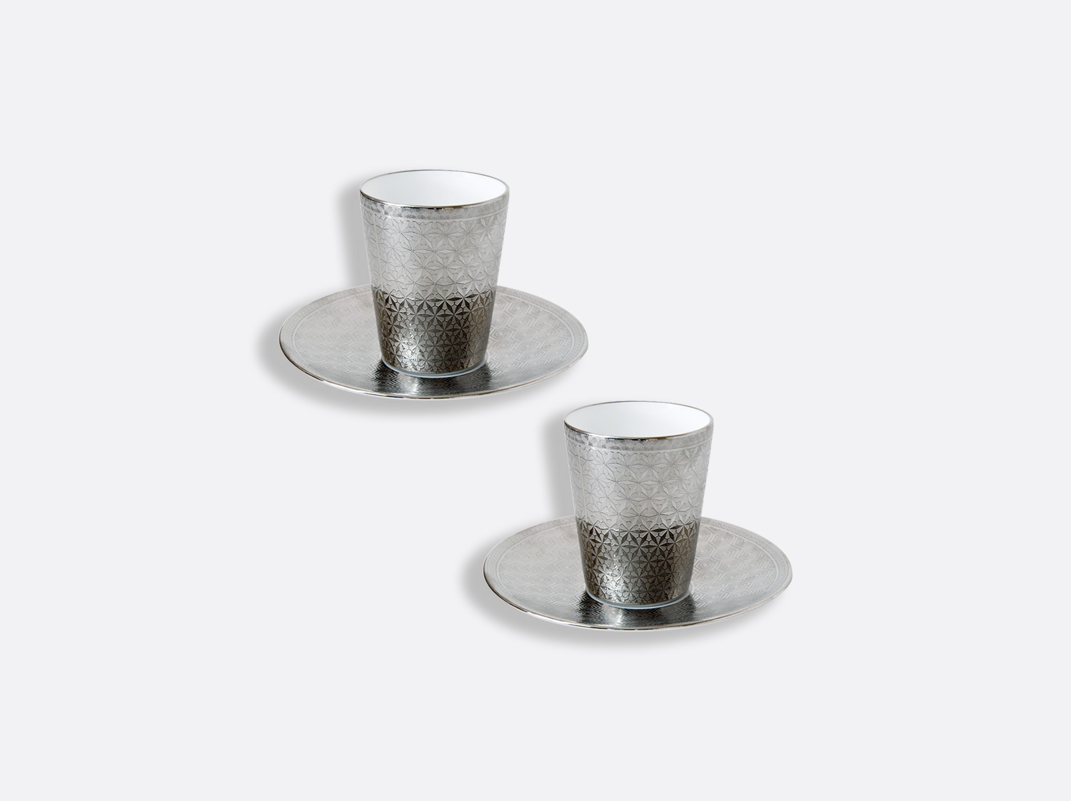 Coffret de 2 tasses et soucoupe platine 7 cl en porcelaine de la collection Divine Bernardaud