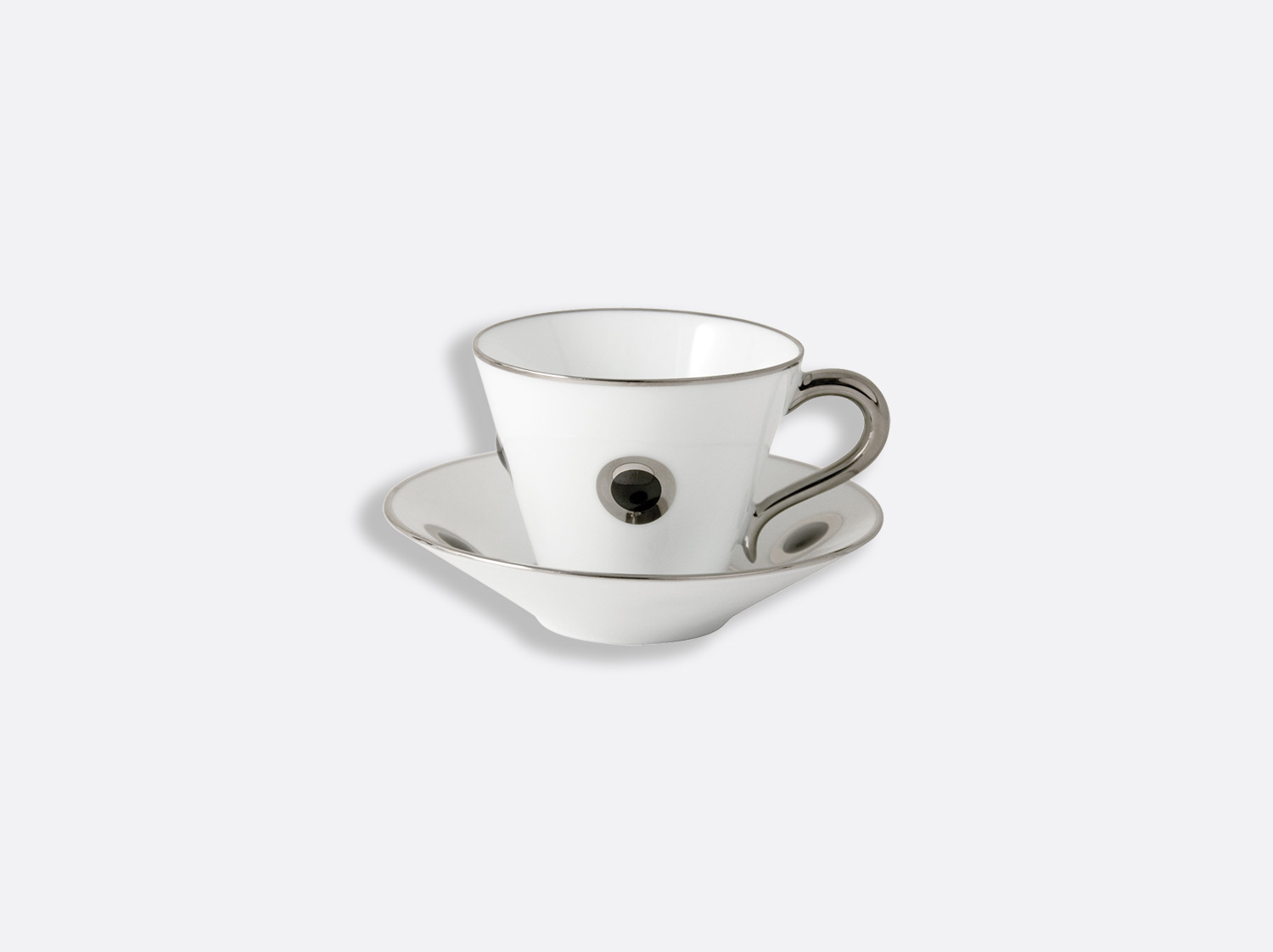 China Espresso cup and saucer 4.4 oz of the collection Ithaque noir platine | Bernardaud