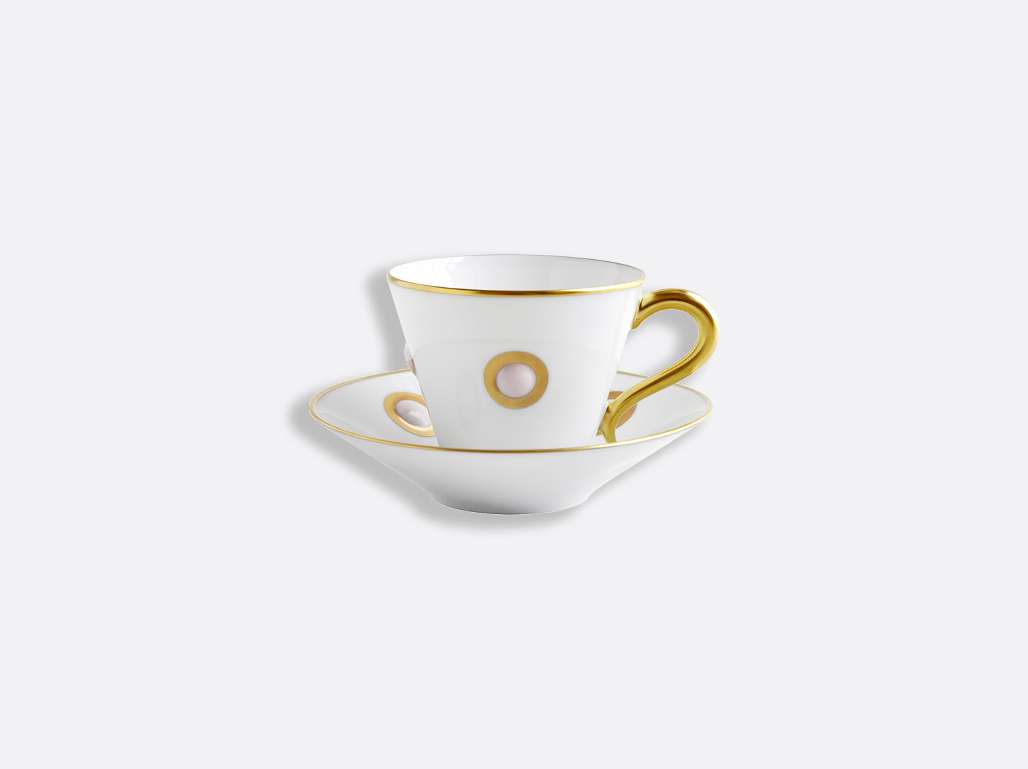 Tasse et soucoupe café 13 cl en porcelaine de la collection Ithaque rose Bernardaud