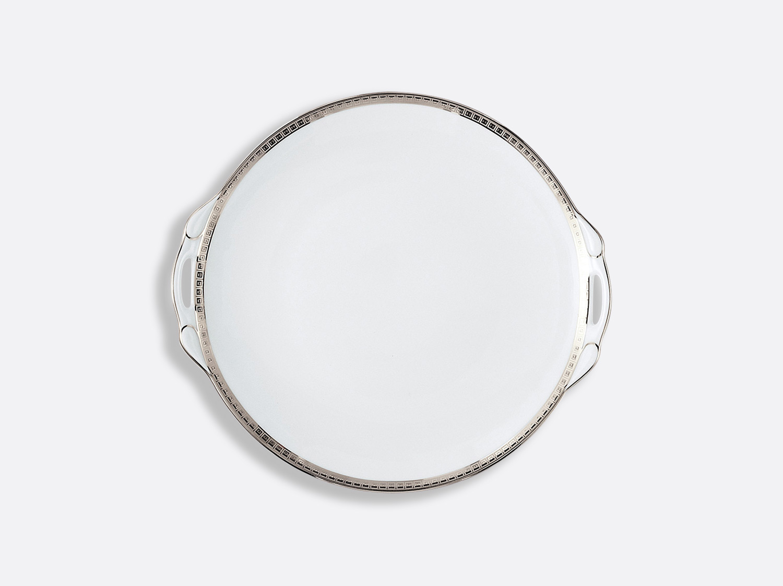 Plat à gateaux 27 cm en porcelaine de la collection Athéna platine Bernardaud