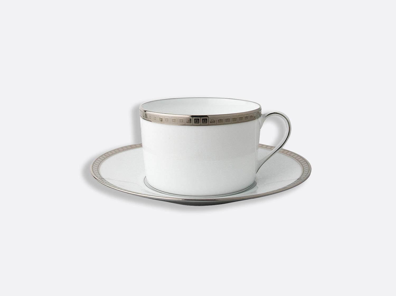 Tasse et soucoupe déjeuner 25 cl en porcelaine de la collection Athéna platine Bernardaud
