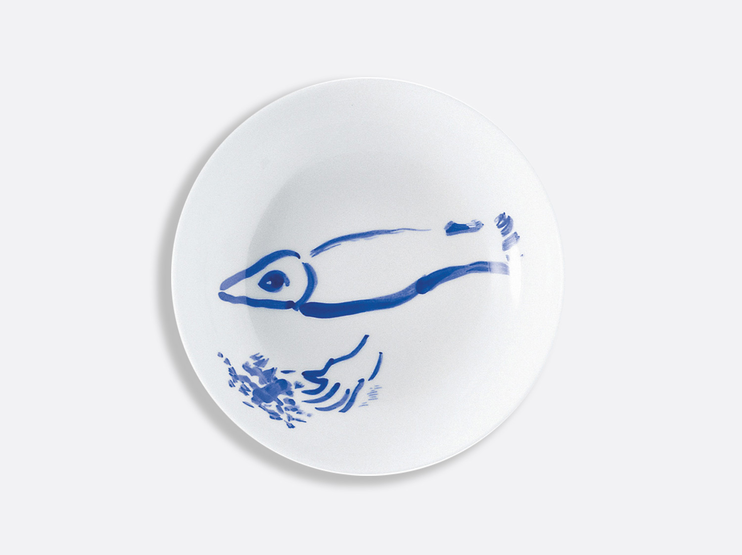 Assiette creuse  le poisson au bouquet en porcelaine de la collection Pour ida Bernardaud