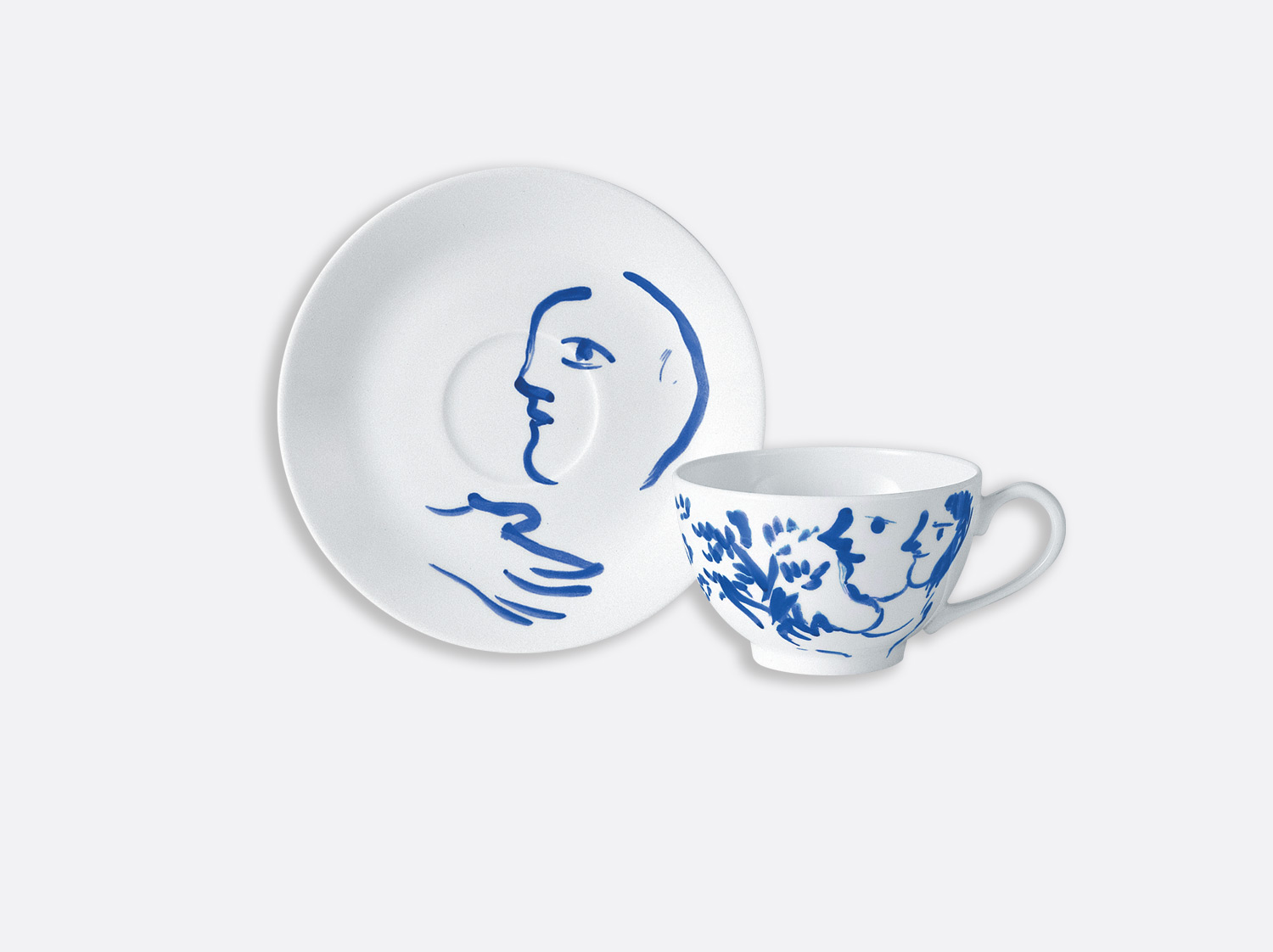 Tasse thé couple au bouquet en porcelaine de la collection Pour ida Bernardaud