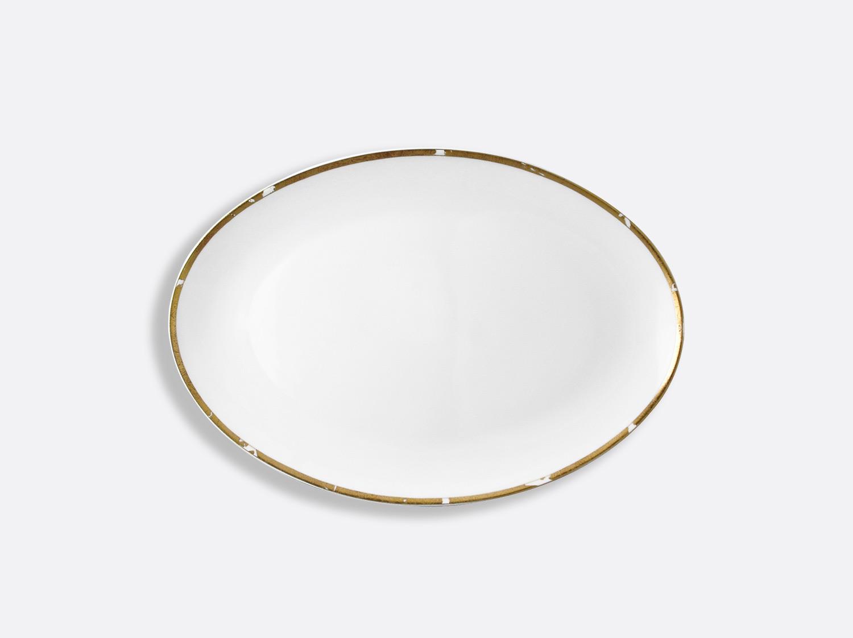Plat ovale 38 cm en porcelaine de la collection Feuille d or Bernardaud