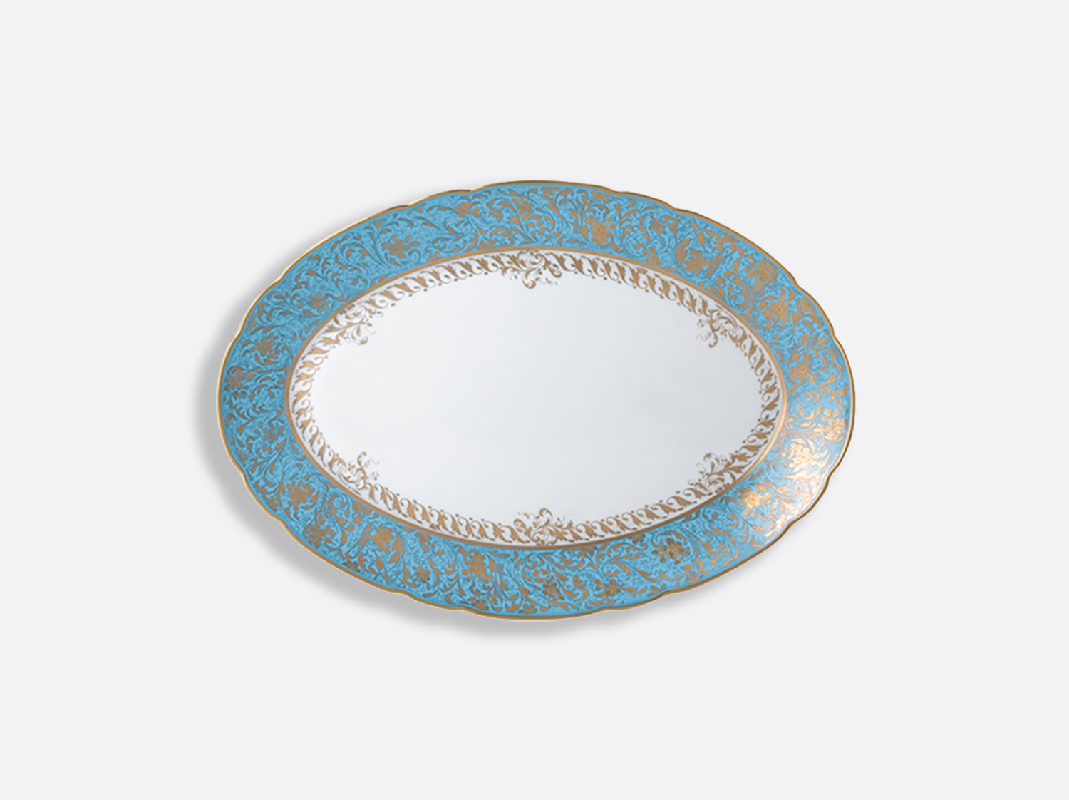 Plat ovale 33 cm en porcelaine de la collection Eden turquoise Bernardaud
