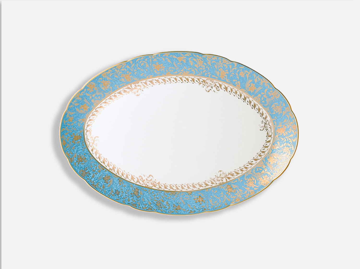 Plat ovale 38 cm en porcelaine de la collection Eden turquoise Bernardaud
