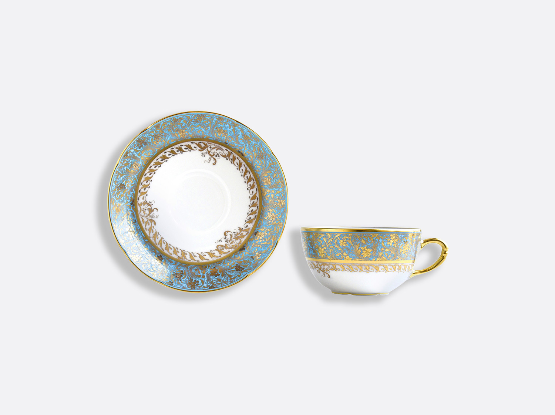 Tasse et soucoupe à thé extra 13 cl en porcelaine de la collection Eden turquoise Bernardaud