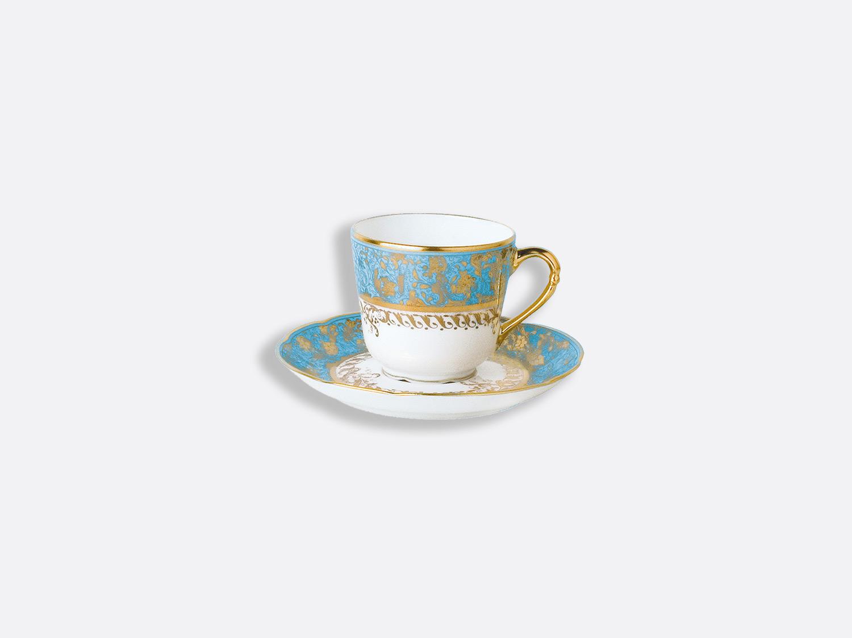 Tasse et soucoupe à café 8 cl en porcelaine de la collection Eden turquoise Bernardaud