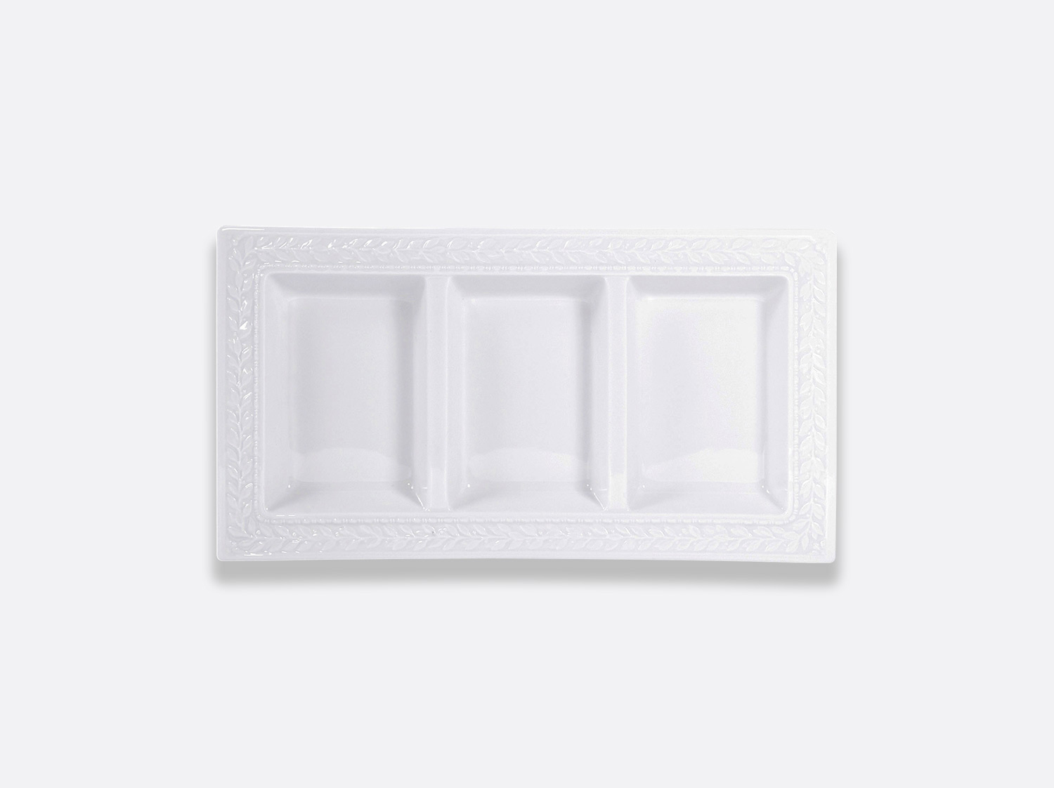 "China Rectangular 3-compartment tray 7"" x 13"" of the collection Louvre 