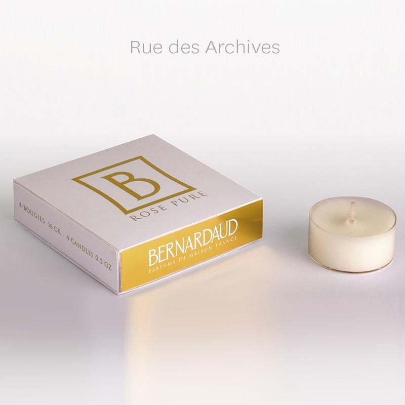 Boîte de 4 bougies 16 gr Rue des Archives (durée de diffusion : environ 6 h) en porcelaine de la collection Parfums de maison Bernardaud