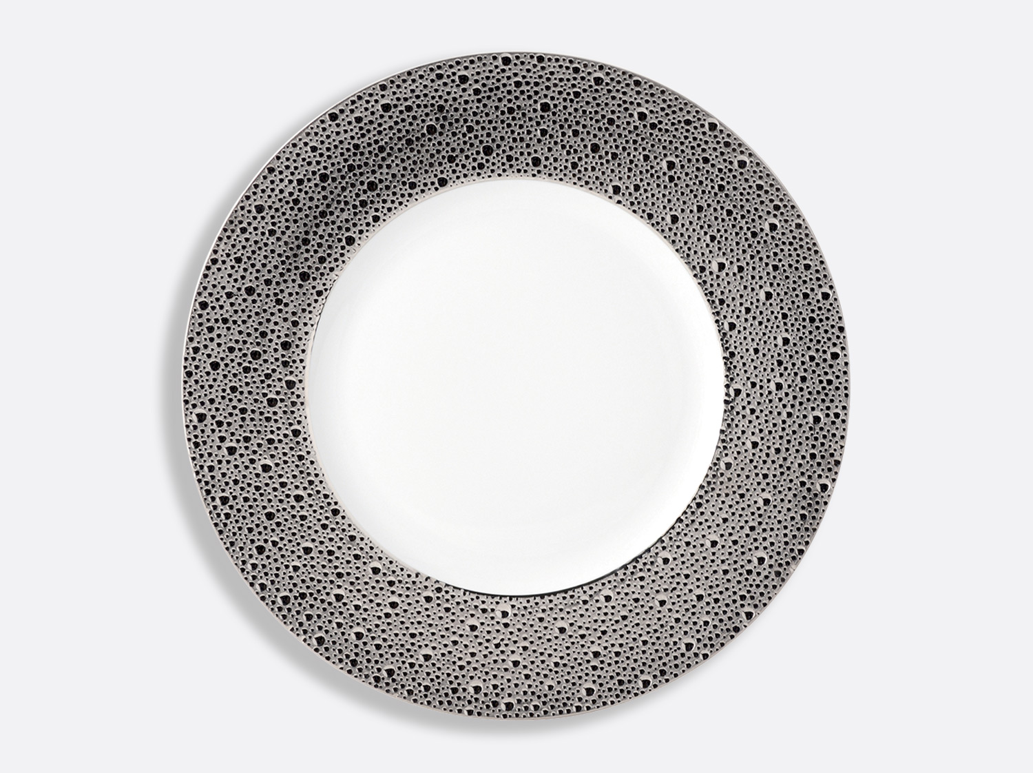 Assiette plate 31,5 cm en porcelaine de la collection Ecume platine Bernardaud