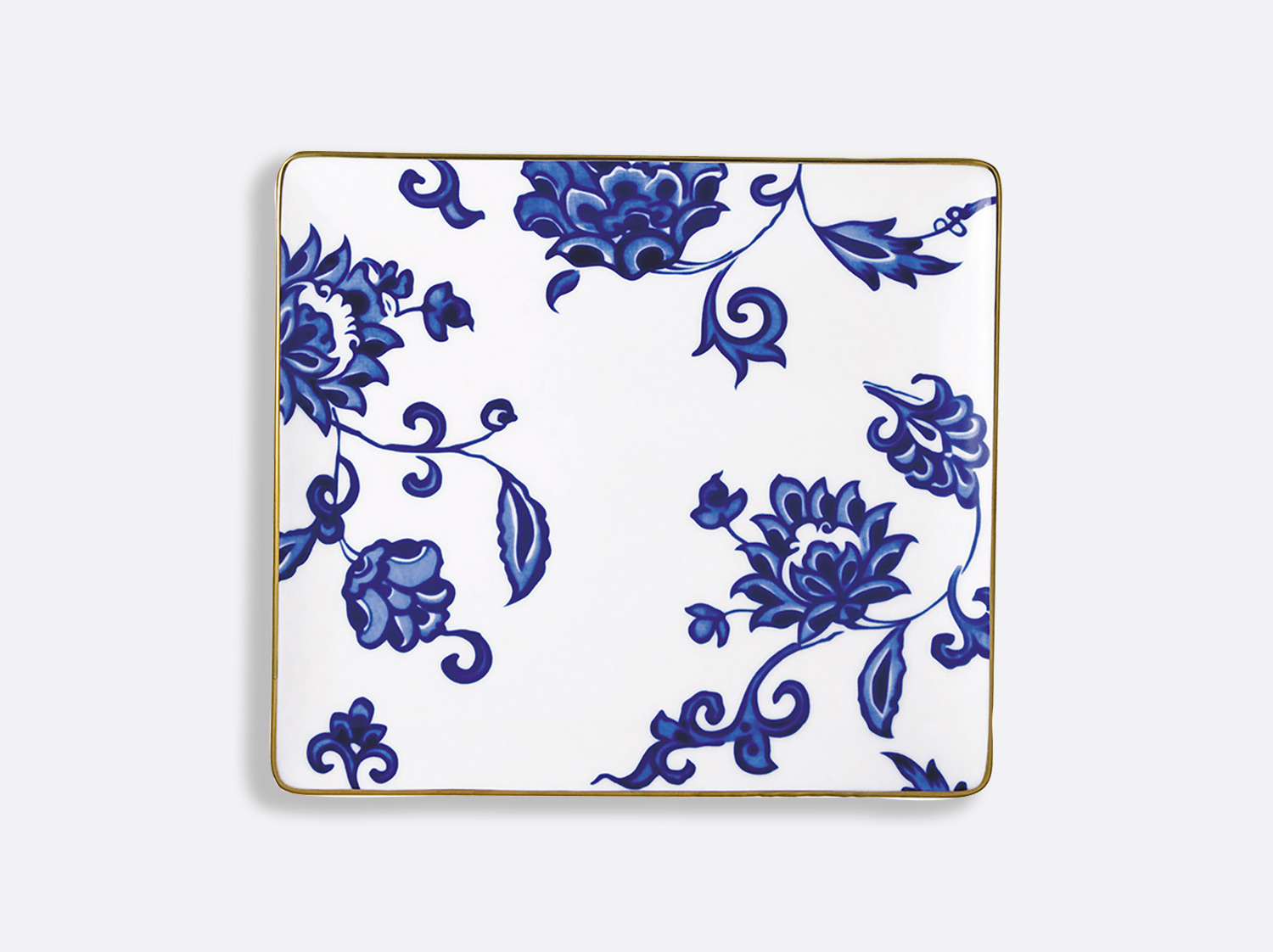 Plateau rectangulaire 22 x 19,5 cm en porcelaine de la collection Prince bleu Bernardaud