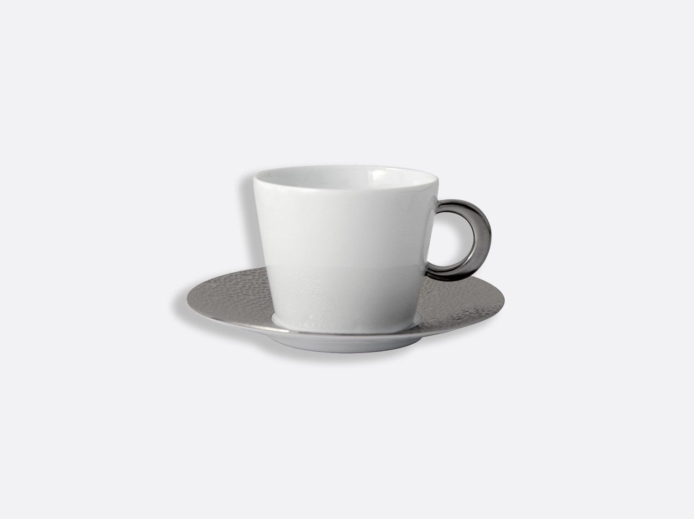 Tasse et soucoupe thé 17 cl en porcelaine de la collection Ecume platine Bernardaud