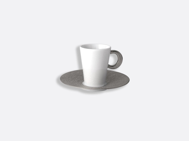 Tasse et soucoupe café 8 cl en porcelaine de la collection Ecume platine Bernardaud