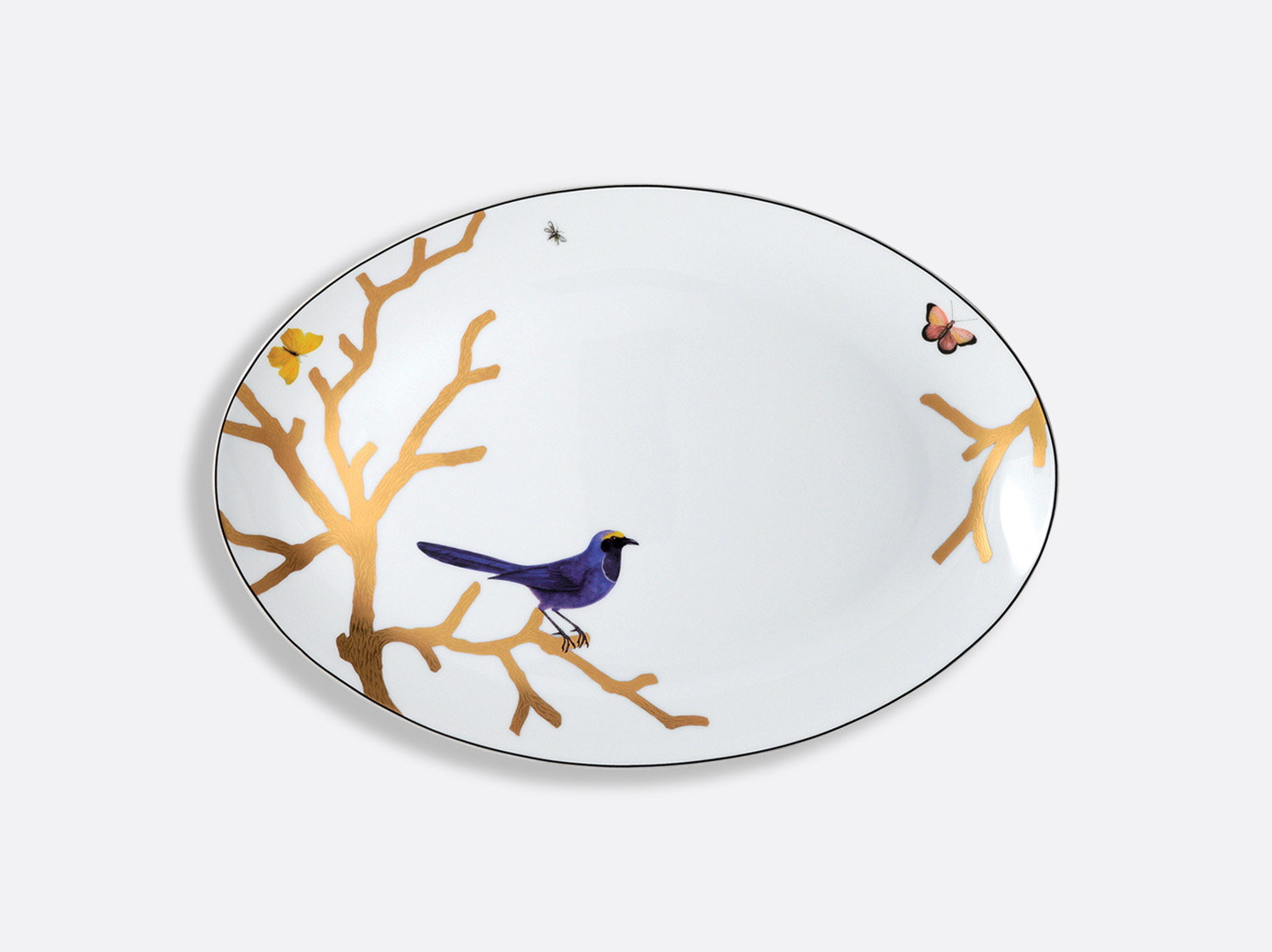 China Oval platter  38 cm of the collection Aux oiseaux | Bernardaud