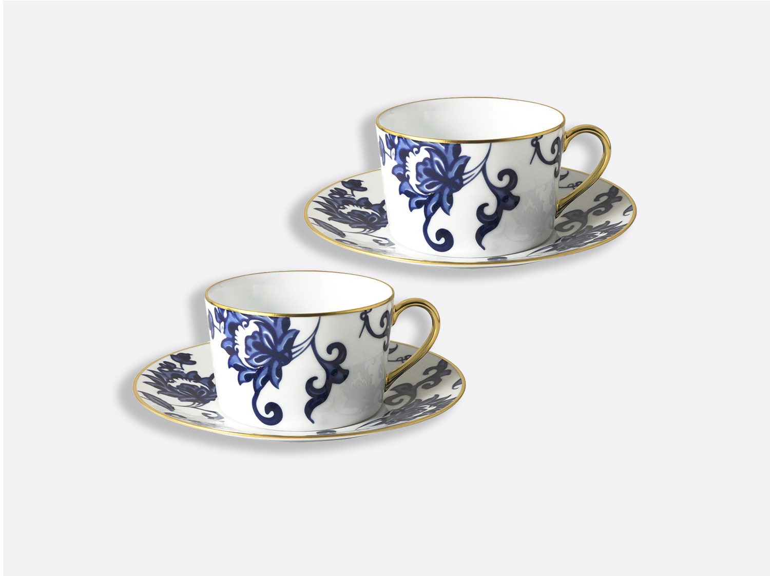 China Gift box set of 2 breakfast cups and saucers 8.5 oz of the collection Prince bleu | Bernardaud