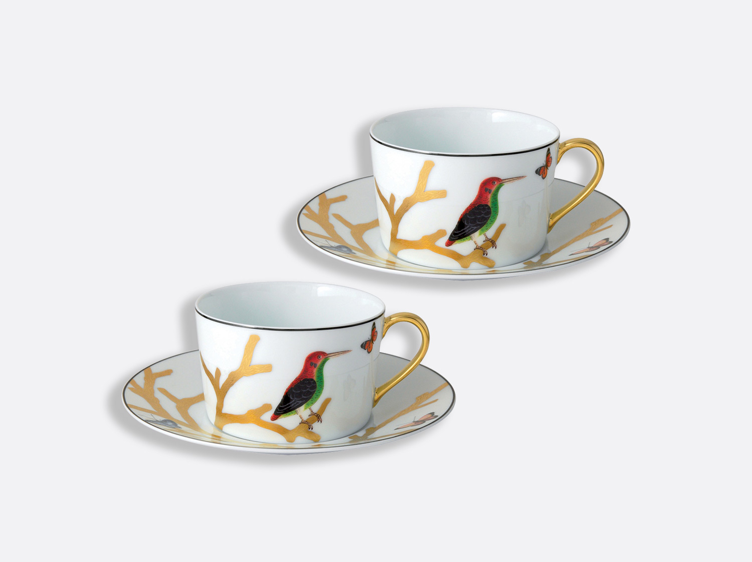 China Gift boxed set of 2 breakfast cups & saucers 27 cl of the collection Aux oiseaux | Bernardaud