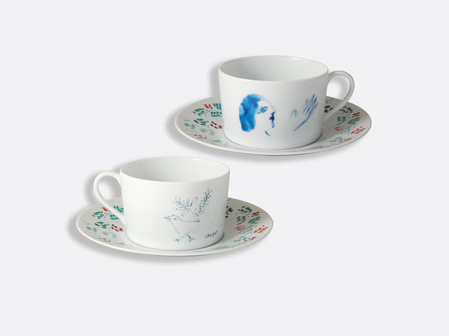 Coffret de 2 tasses et soucoupes déjeuner assorties en porcelaine de la collection Collection Marc chagall Bernardaud