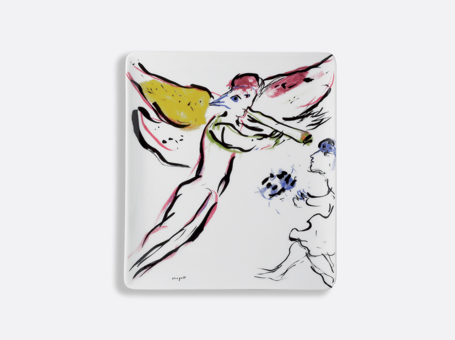 "Plateau 22 x 19,5 cm ""L'Ange Rouge"" en porcelaine de la collection Collection Marc chagall Bernardaud"
