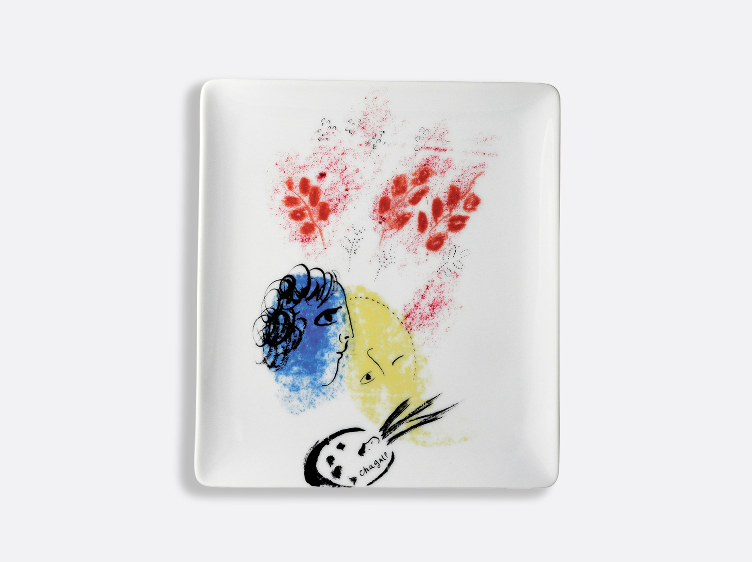"Plateau 22 x 19,5 cm ""Double visage bleu & jaune"" en porcelaine de la collection Collection Marc chagall Bernardaud"