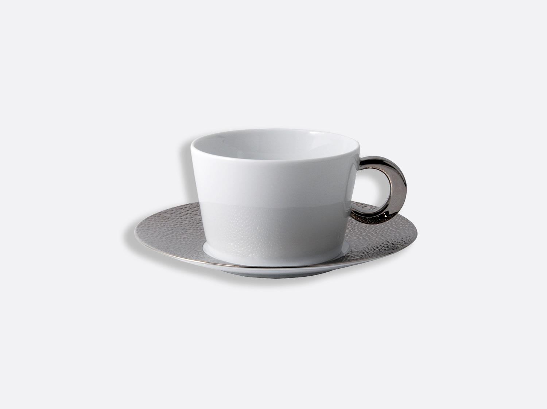 Tasse et soucoupe déjeuner 27 cl en porcelaine de la collection Ecume platine Bernardaud