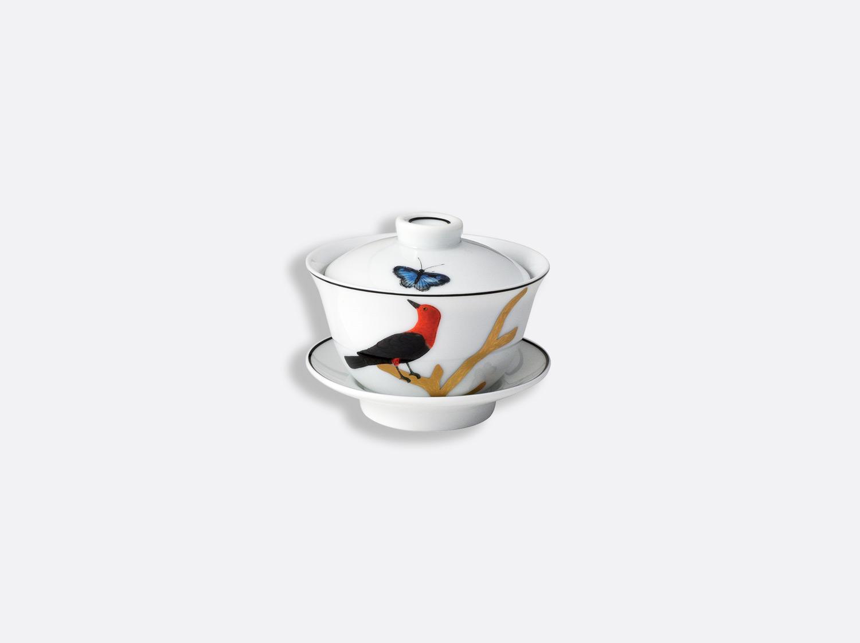 Petite tasse thé couverte 10 cl en porcelaine de la collection Aux oiseaux Bernardaud