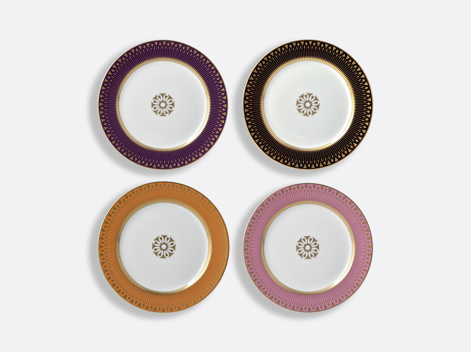 Coffret de 4 assiettes à dessert 21 cm en porcelaine de la collection Soleil levant couleurs Bernardaud