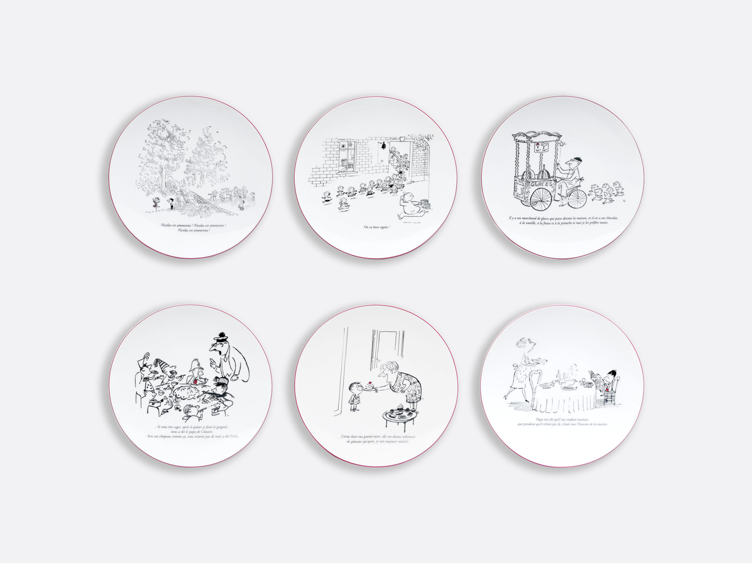 Coffret de 6 assiettes 21 cm coupe en porcelaine de la collection Le petit nicolas Bernardaud