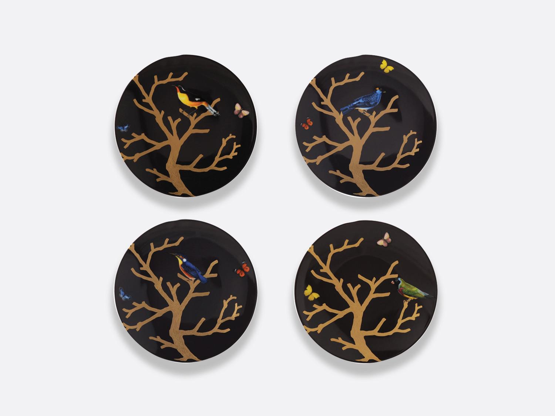 Coffret de 4 assiettes coupe Ebène 21 cm en porcelaine de la collection Aux oiseaux Bernardaud