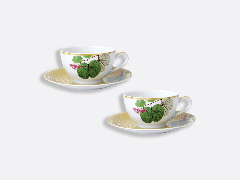 Coffret de 2 tasses 30 cl et soucoupes déjeuner en porcelaine de la collection Jardin indien Bernardaud