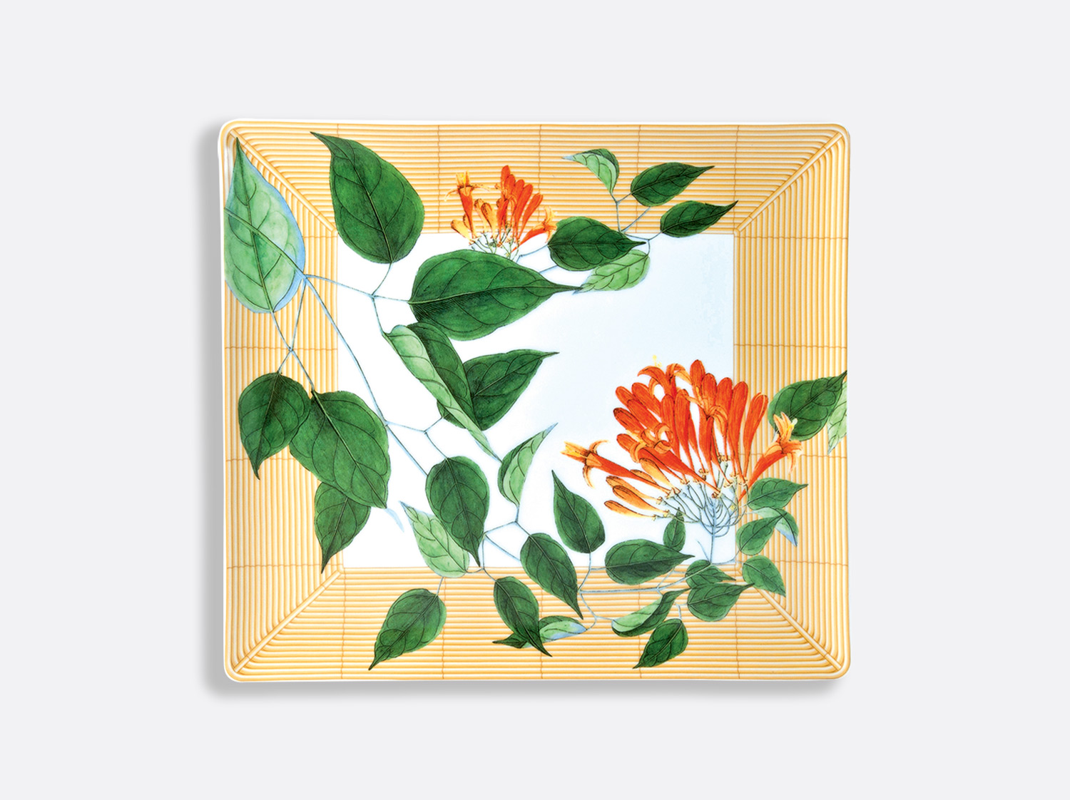 Plateau rectangulaire 26,5 x 23,5 cm en porcelaine de la collection Jardin indien Bernardaud