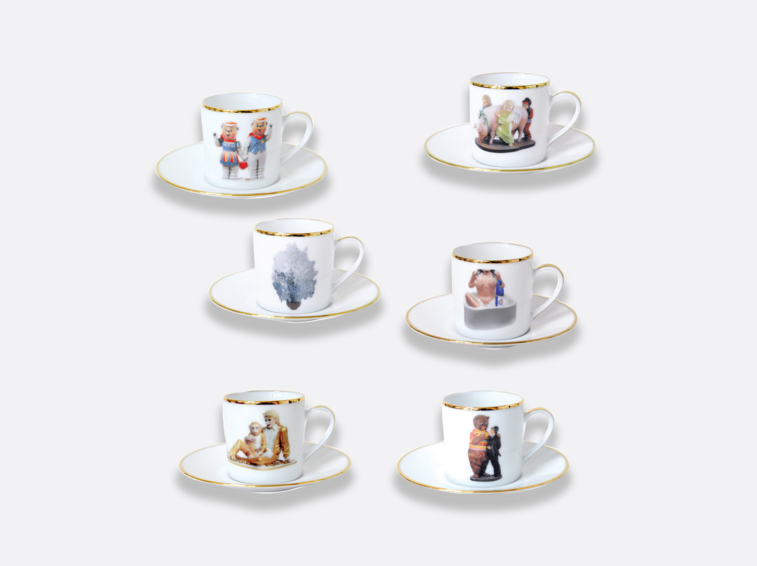 Coffret de 6 tasses et soucoupes à café assorties en porcelaine de la collection Banality series Bernardaud