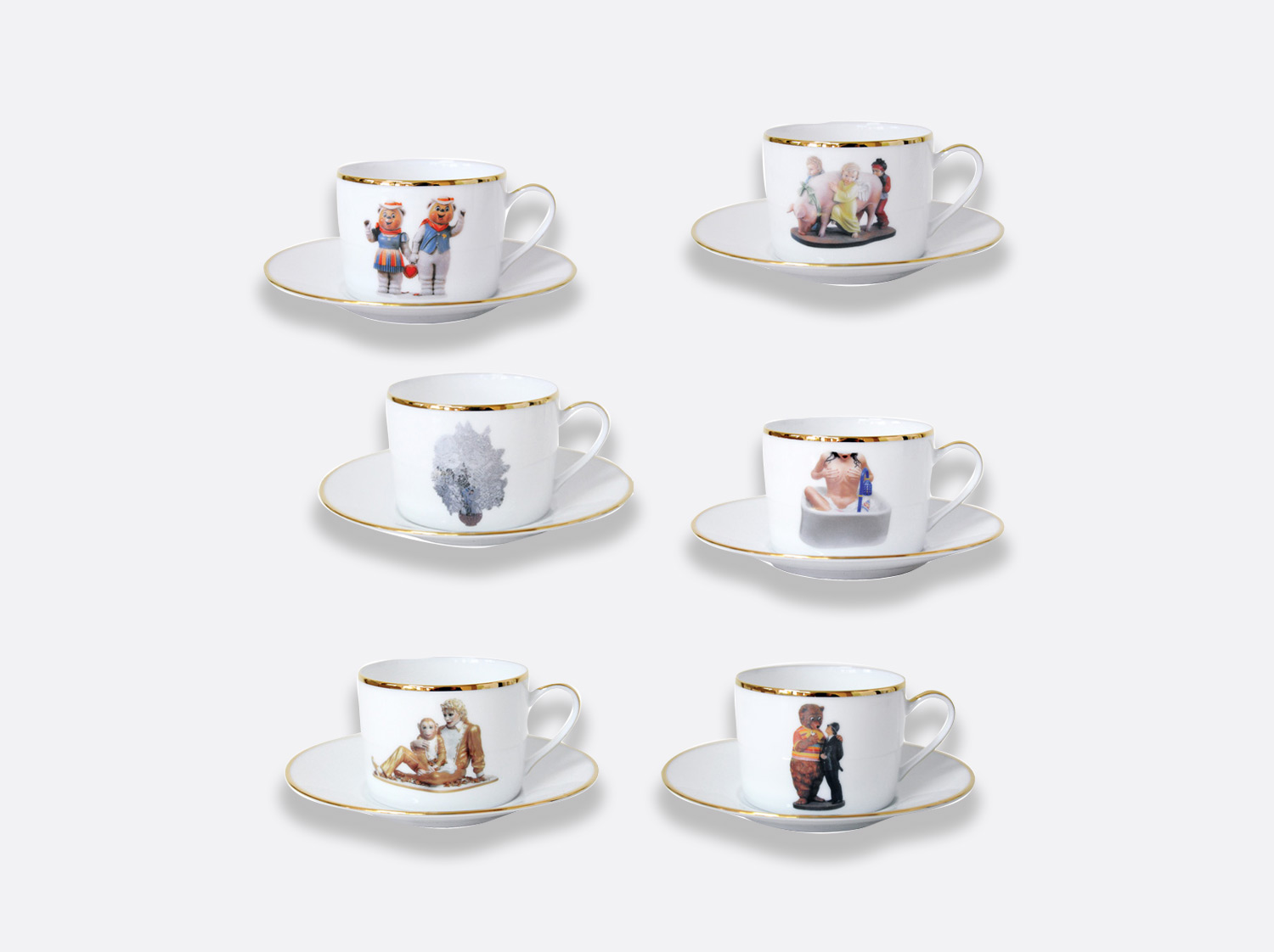 Coffret de 6 tasses et soucoupes à thé assorties en porcelaine de la collection Banality series Bernardaud