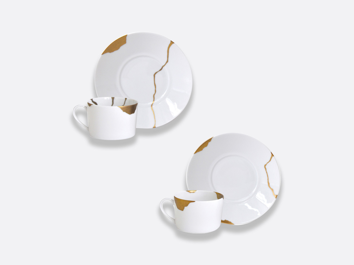 Coffret de 2 tasses et soucoupes déjeuner assorties en porcelaine de la collection Kintsugi Bernardaud