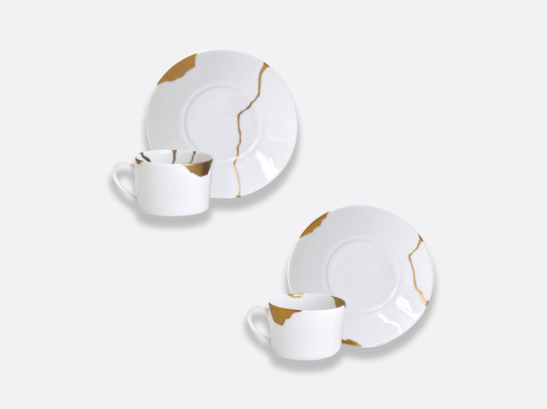 Coffret de 2 tasses et soucoupes déjeuner assorties 30 cl en porcelaine de la collection Kintsugi Bernardaud