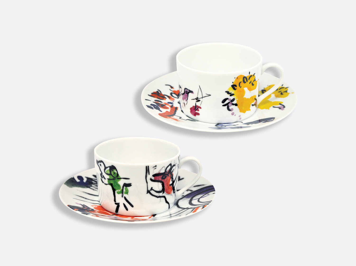 "China Breakfast cup & saucer - set of 2 -  ""joseph tribe"" of the collection Les vitraux d'hadassah 