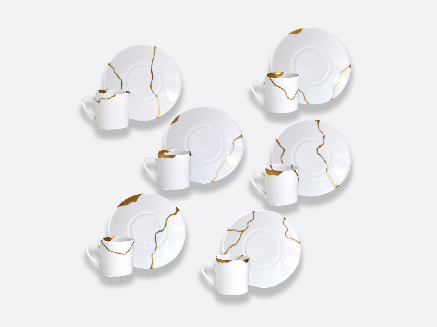 Coffret de 6 tasses et soucoupes à café assorties en porcelaine de la collection Kintsugi Bernardaud