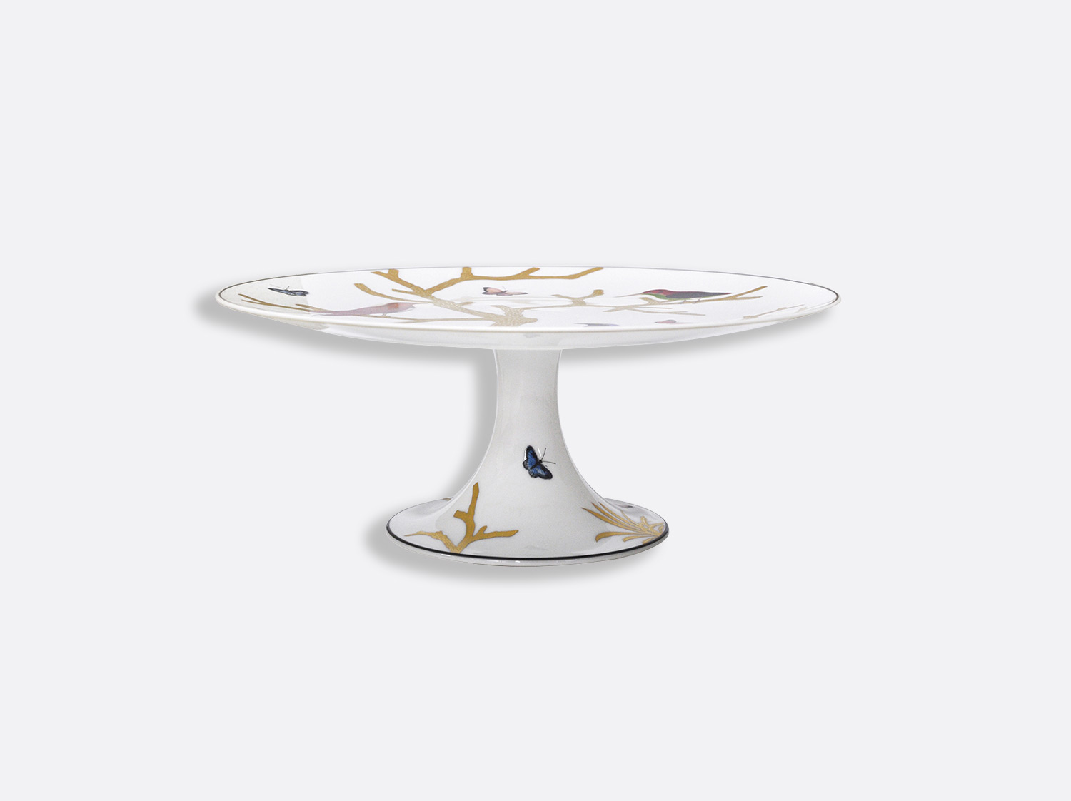 China Footed cake platter of the collection Aux oiseaux | Bernardaud