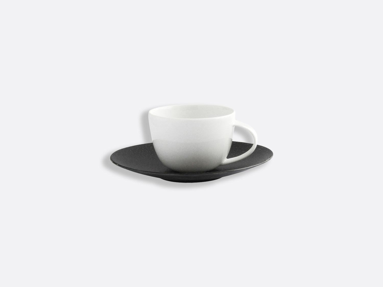 Tasse et soucoupe café 7 cl en porcelaine de la collection Bulle sable noir Bernardaud