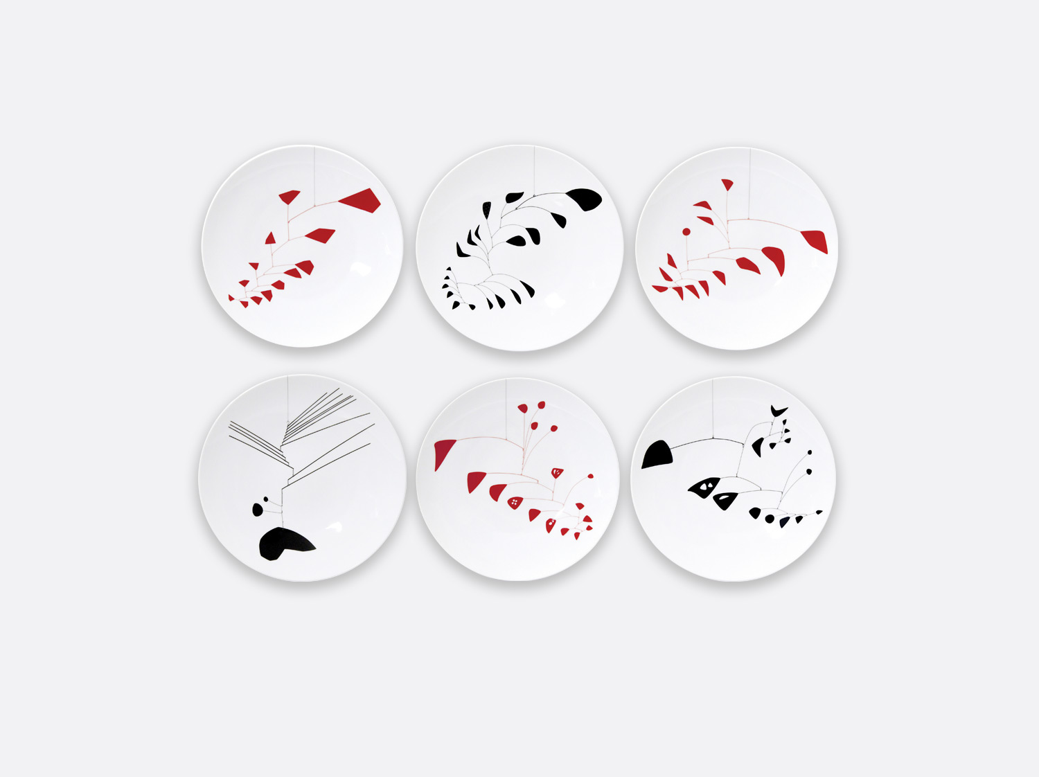 Coffret de 6 assiettes à dîner assorties en porcelaine de la collection Collection Calder Bernardaud