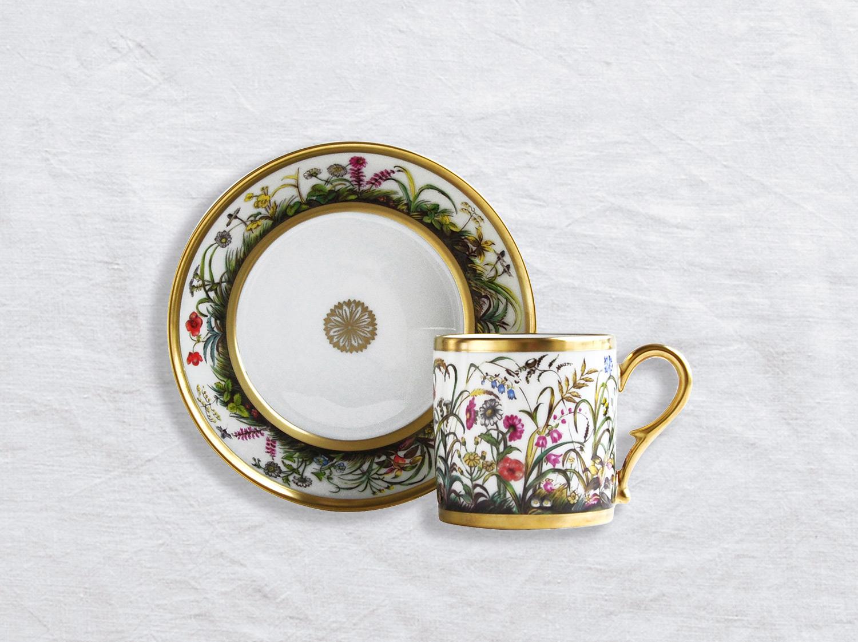 Tasse et soucoupe litron en porcelaine de la collection Aux fleurs des champs Bernardaud