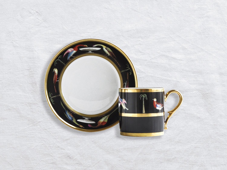 Tasse et soucoupe litron en porcelaine de la collection Aux oiseaux AMR Bernardaud
