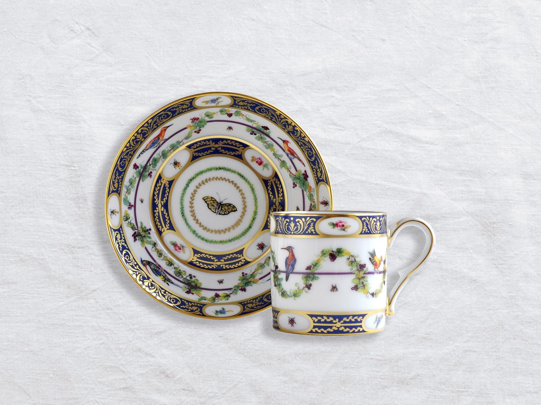 Tasse et soucoupe litron en porcelaine de la collection Aux Aigrettes Bernardaud