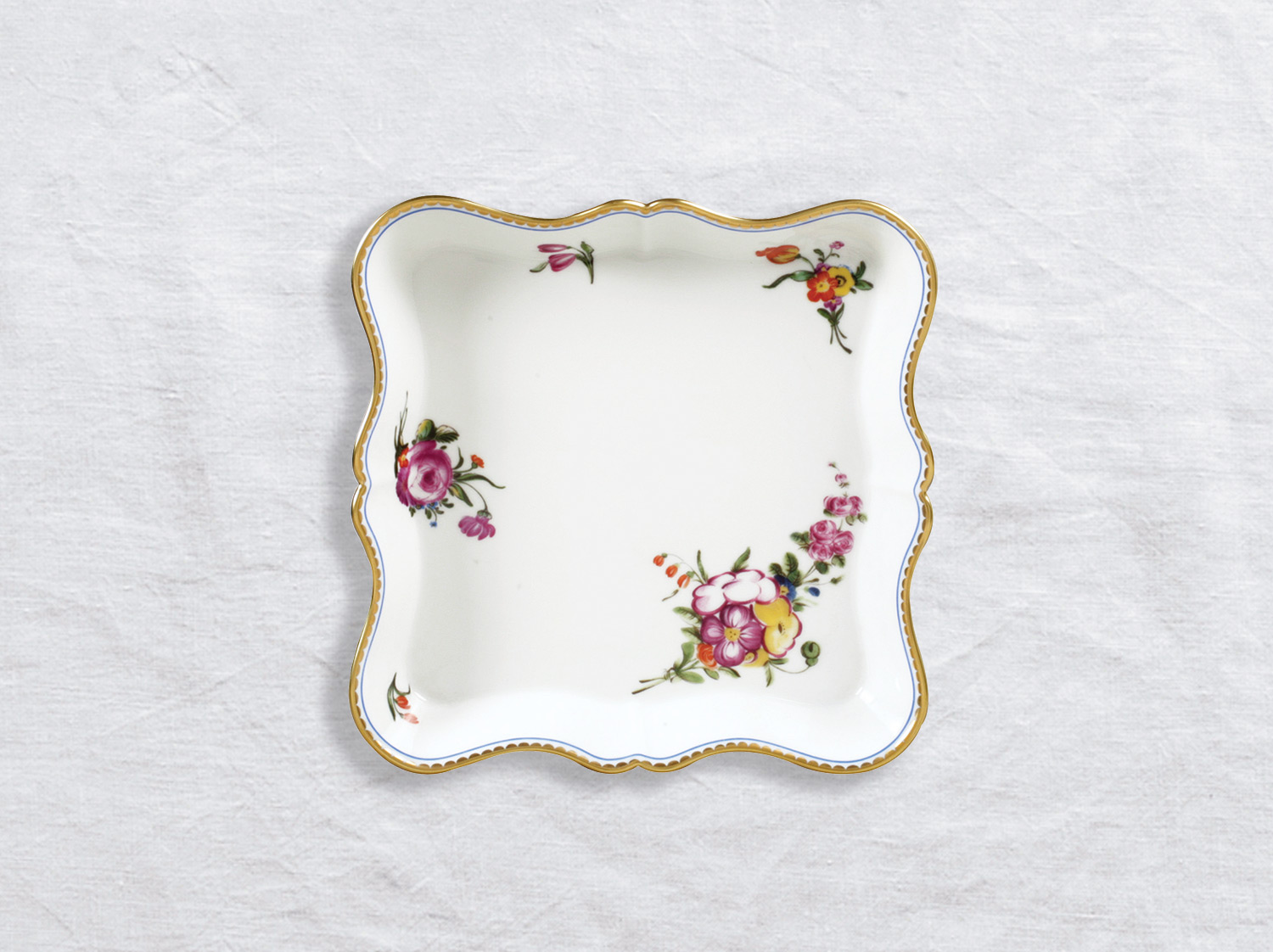 Plateau losange GM 20 x 20 cm en porcelaine de la collection A la reine Bernardaud