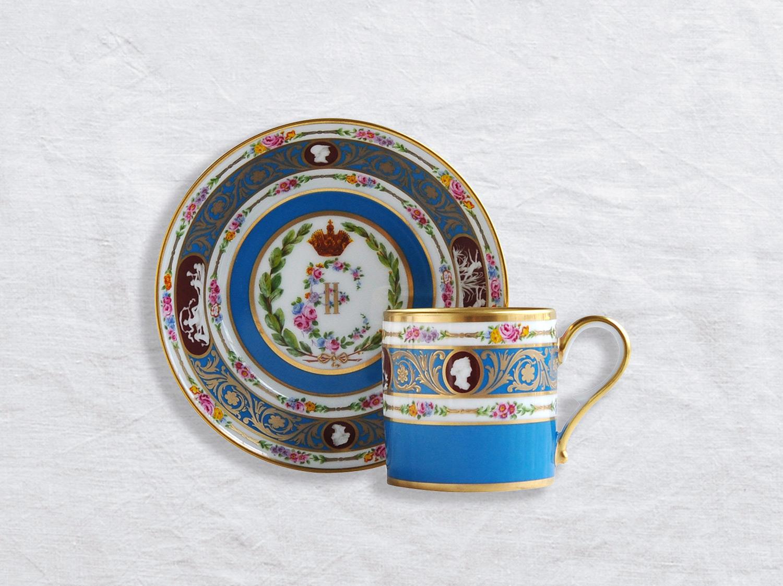 Tasse et soucoupe litron en porcelaine de la collection Catherine II de Russie Bernardaud