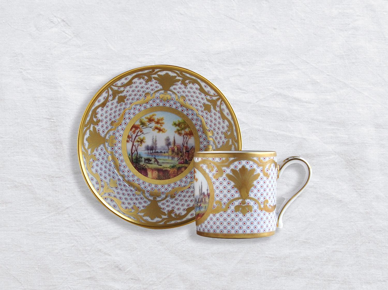 Tasse et soucoupe litron en porcelaine de la collection Paysage à la barque Bernardaud