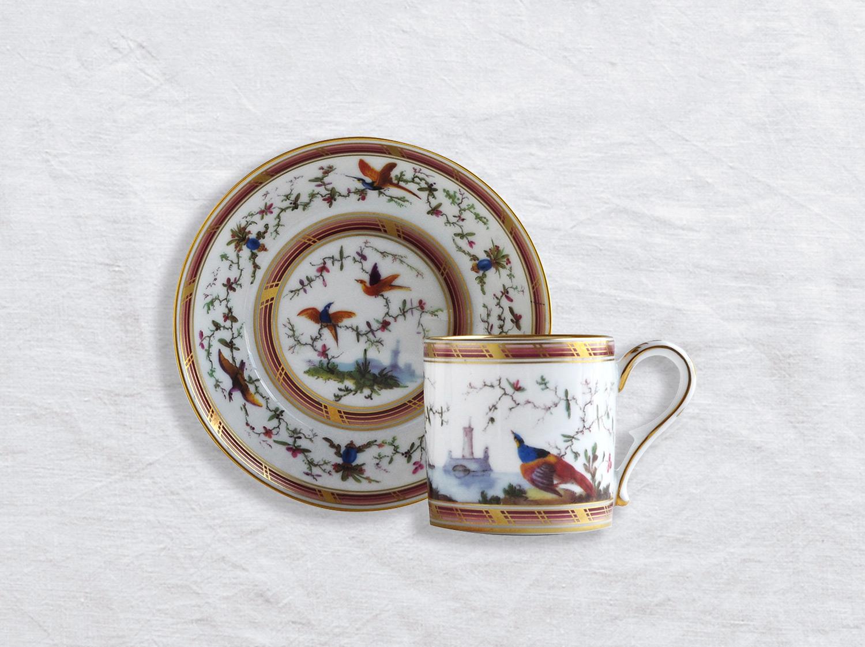 Tasse et soucoupe litron en porcelaine de la collection Paysage aux oiseaux Bernardaud